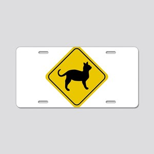 Cat Crossing Sign Aluminum License Plate